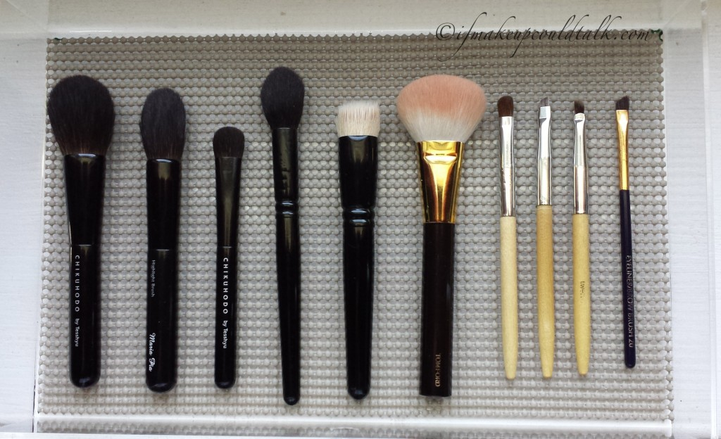 Makeup of the Week: Budge Proof Makeup Brushes: Chikuhodo Z-8, Z-2, Z-5, Wayne Goss Brush 2, Wayne Goss Brush 01, Tom Ford Cheek Brush, Billy B #8, #11, #12, Estee Lauder Eye Liner and Brow Brush.