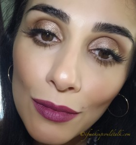 Estee Lauder 450 Insolent Plum Pure Color Envy Lipstick over a light application of It Cosmetics Spicy Nude YLBB Lip Liner Waterproof Stain.