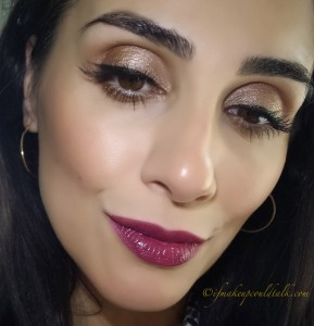 Estee Lauder 450 Insolent Plum Pure Color Envy Lipstick topped lightly with Dior Addict Fluid Stick 893 Trompe L'Oeil.