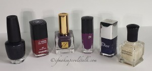 Bottle Size Comparisons: OPI, Chanel, Estee Lauder, Lancome 411N Midnight Rose Vernis In Love, Dior, and Deborah Lippmann.