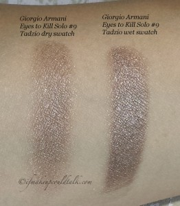 Giorgio Armani #9 Tadzio Eyes to Kill Solo dry and wet swatch.