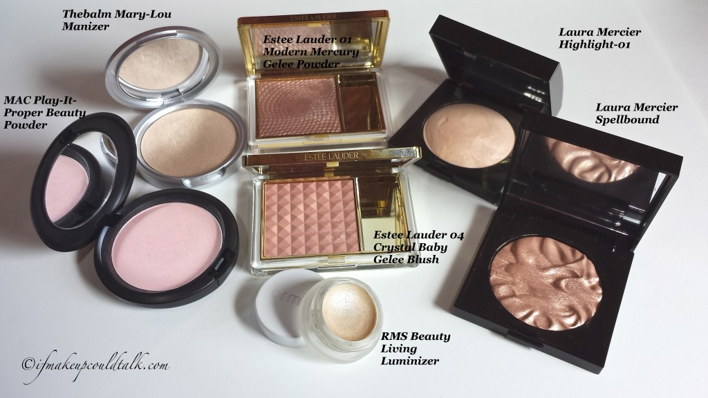Comparisons: MAC Play-It-Proper Beauty Powder, Thebalm Mary-Lou Manizer, Estee Lauder 01 Modern Mercury Gelee Powder, Laura Mercier Highlight-01, Laura Mercier Spellbound, Estee Lauder 04 Crystal Baby Gelee Blush, RMS Beauty Living Luminizer.