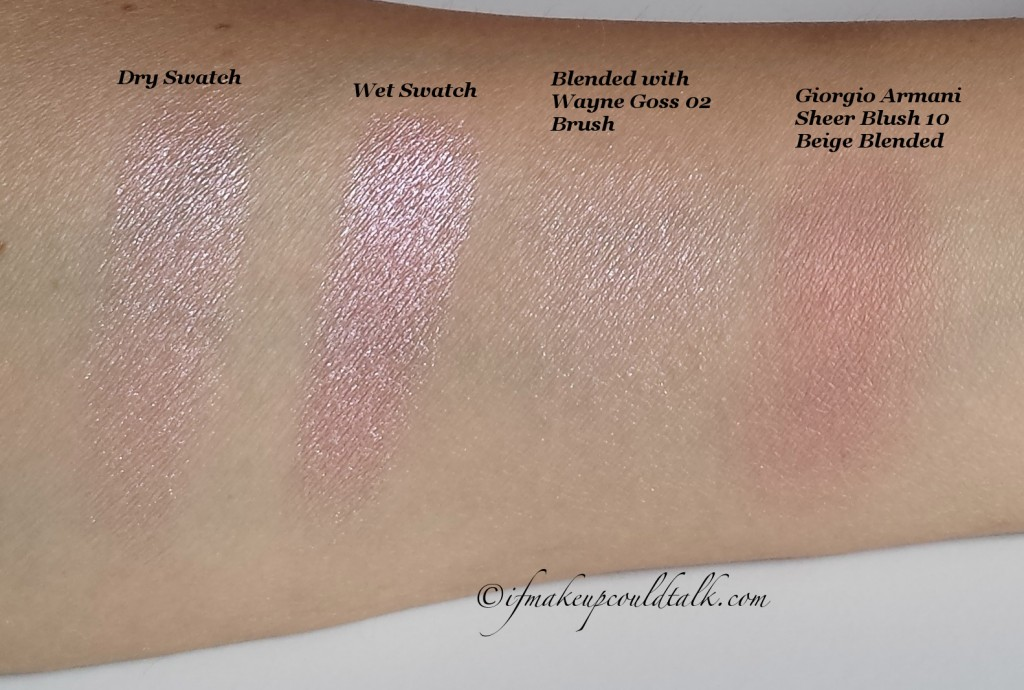 L-R:  Estee Lauder 04 Crystal Baby Illuminating Powder Gelee Blush dry, wet and blended swatch with Giorgio Armani Sheer Blush 10 Beige.