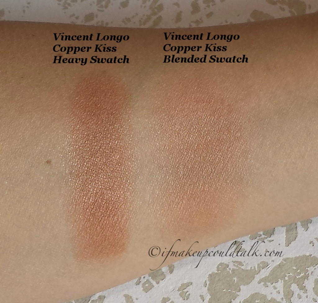 Vincent Longo Copper Kiss La Riviera Sun Face and Body Bronzer heavy swatch and blended swatch.