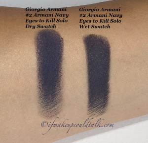 Giorgio Armani #2 Armani Navy Eyes to Kill Solo Eyeshadow dry and wet swatch.