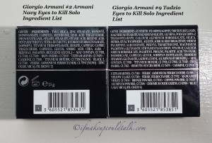Giorgio Armani #2 Armani Navy Eyes to Kill Solo Eyeshadow ingredient list vs. #9 Tadzio ingredient list.