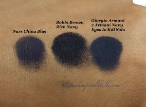 Navy Blue eyeshadow Comparison: Nars China Blue, Bobbi Brown Rich Navy, and Giorgio Armani #2 Armani Navy Eyes to Kill Solo Eyeshadow.