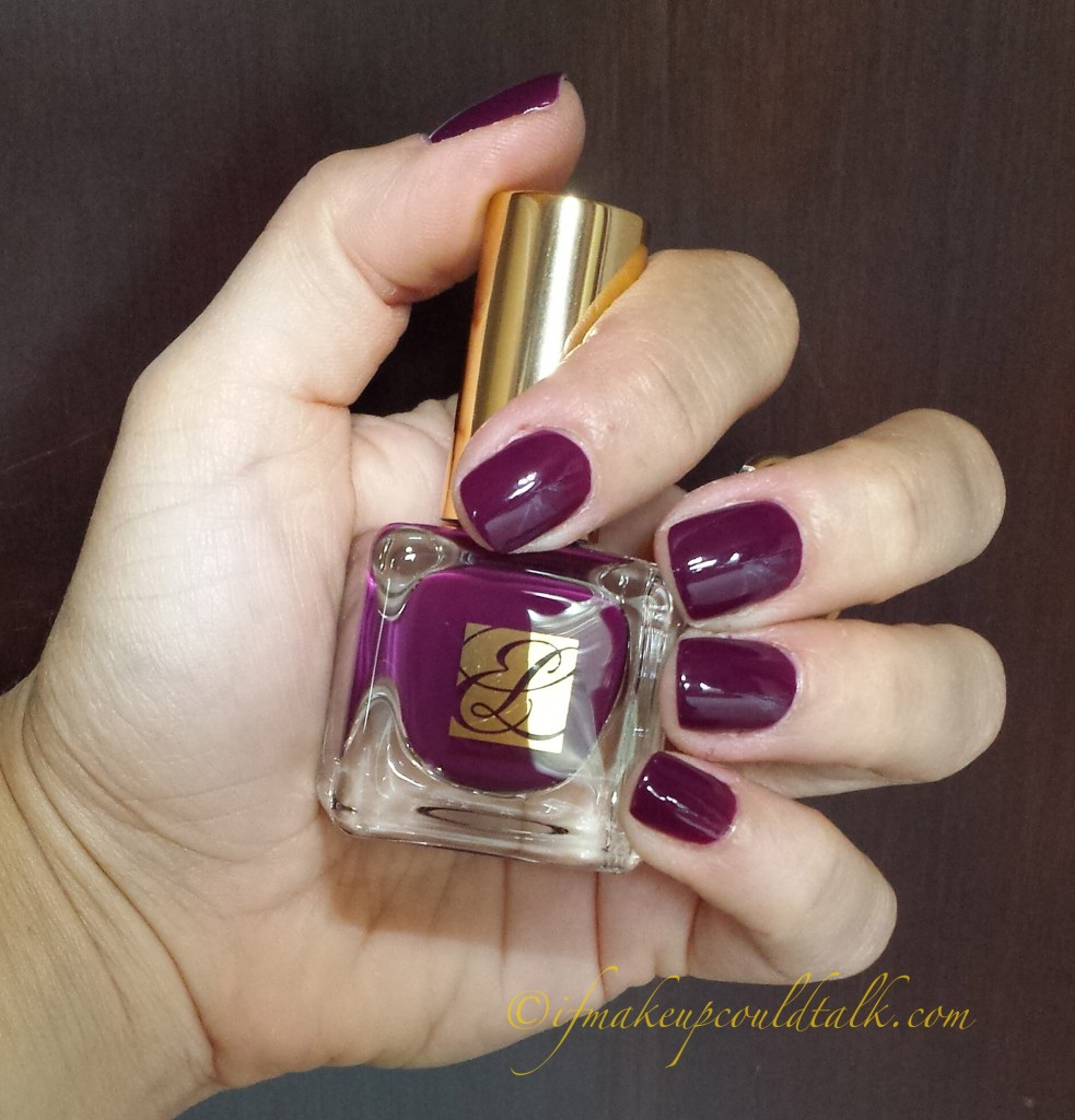 Estee Lauder Insolent Plum Pure Color Nail Lacquer in natural light.