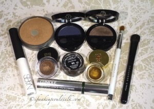Current Eye Makeup Favorites: Cargo Waterproof Bronzer, Giorgio Armani Eyes to Kill Solo Eyeshadows in 2 Armani Navy and 9 Tadzio, Givenchy Waterproof Cream Shadow in Brun Cachemire, Inglot AMC gel liner #90, YSL 07 Gold Star Cream Liner, Clinique High Impact Mascara, Nars Eyeshadow Primer, Sonia Kashuk Concealer Brush, Chikuhodo Z-5 Eyeshadow Brush.