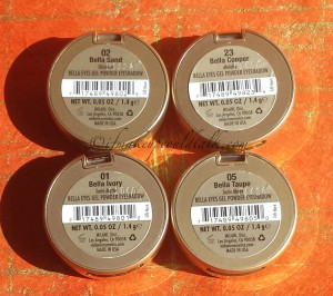 Milani Bella Eyes Gel Powder Eyeshadows L-R: Bella Sand, Bella Copper, Bella Ivory, Bella Taupe.
