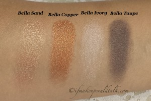 Milani Bella Eyes Gel Powder Eyeshadows Dry Swatches L-R: Bella Sand, Bella Copper, Bella Ivory, Bella Taupe.