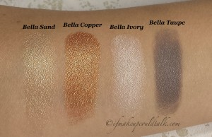 Milani Bella Eyes Gel Powder Eyeshadows Wet Swatches L-R: Bella Sand, Bella Copper, Bella Ivory, Bella Taupe.