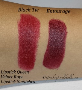 Lipstick Queen Velvet Rope Lipstick Swatches: Black Tie and Entourage.