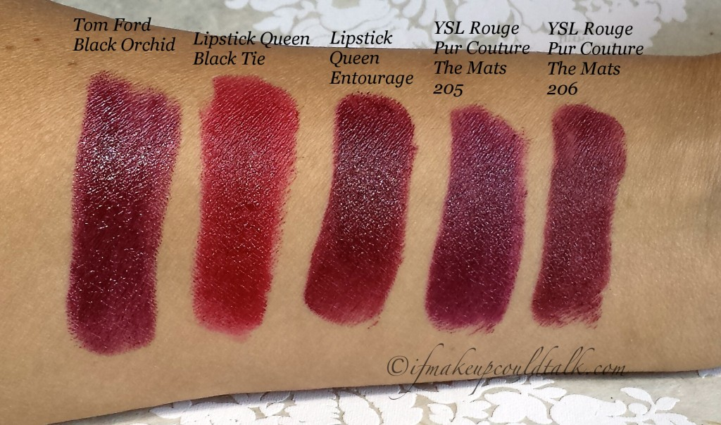 Dark Red Lipstick Comparisons: Tom Ford Black Orchid, Lipstick Queen Black Tie, LipstickQueen Entourage, YSL Rouge Pur Couture The Mats 205 and YSL Rouge Pur Couture The Mats 206