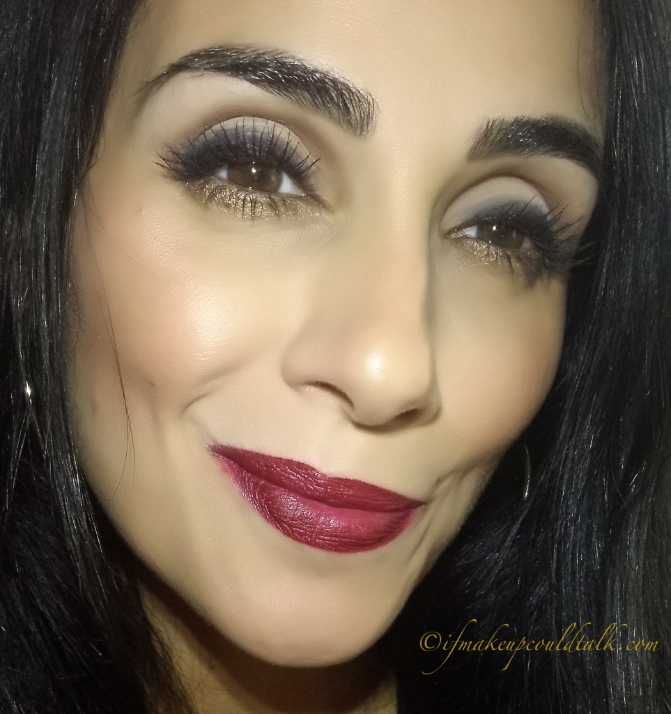 Wearing YSL Rouge Pur Couture The Mats 205 as a base color topped with Lipstick Queen Velvet Rope Lipstick in Black Tie.