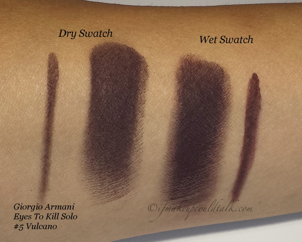Giorgio Armani Eyes to Kill Solo #5 Vulcano dry and wet swatch.