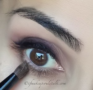 Givenchy #9 Brun Cachemire and MUFE I-648 applied to the lower lash line.