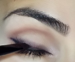 Reapplication of Giorgio Armani ETKS #5 Vulcano over the black liquid liner.