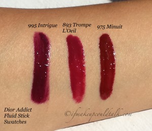 Dior Addict Fluid Stick Swatches.
