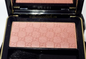 Gucci Nude Freesia Sheer Blushing Powder taken with flash to show the slight micro-shimmers.