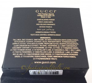 Ingredient list for Gucci Nude Freesia Sheer Blushing Powder.