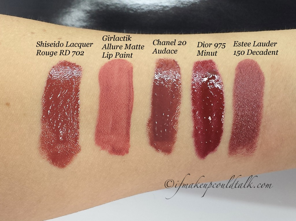 Comparisons: Shiseido Lacquer Rouge RD702, Girlactik Allure Matte Lip Paint, Chanel 20 Audace, Dior Fluid Stick 975 Minut, and Estee Lauder Pure Color Envy Lipstick 150 Decadent.