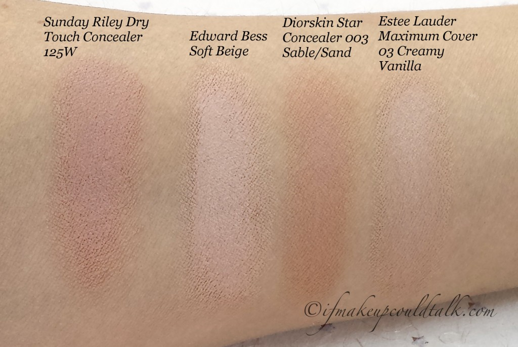 Comparison Swatches: Sunday Riley Dry Touch Concealer 125W, Edward Bess Soft Beige Concealer, Diorskin Star Concealer, Estee Lauder Maximum Coverage Foundation 03 Creamy Vanilla.