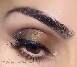 Makeup of the Week: Holiday Edition. Slightly different look using blue tones on top of the brown/golden combo.