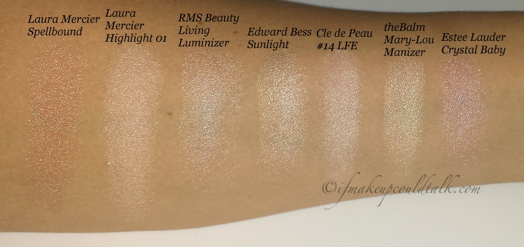 Comparisons: Laura Mercier Spellbound, Laura Mercier Highlight 01, Edward Bess Sunlight, Cle de Peau 14 Delicate Pink, theBalm Mary-Lou Manizer and Estee Lauder Crystal Baby.