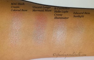 Cream Highlighter Comparison Swatches:
