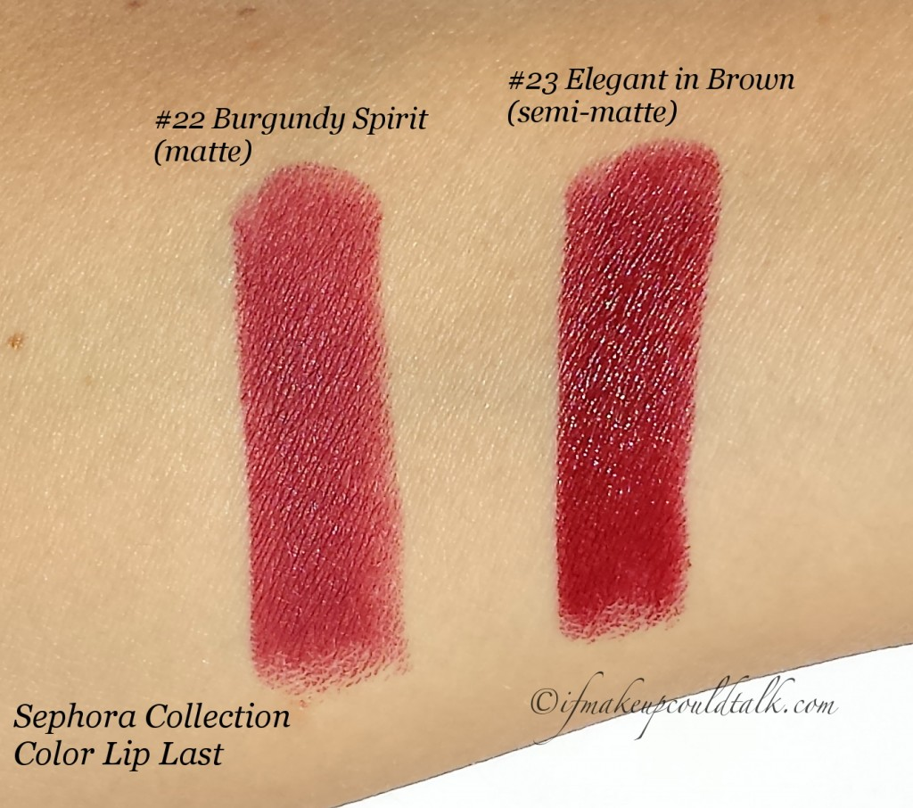 Sephora Collection Color Lip Last swatches.