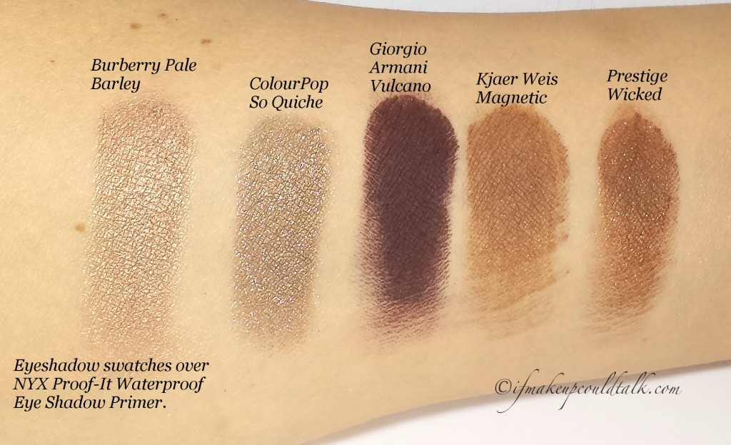 Eyeshadow Swatches over NYX Proof-It