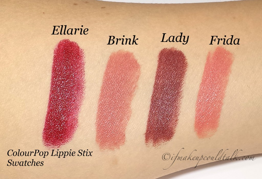 ColourPop Lippie Stix swatches
