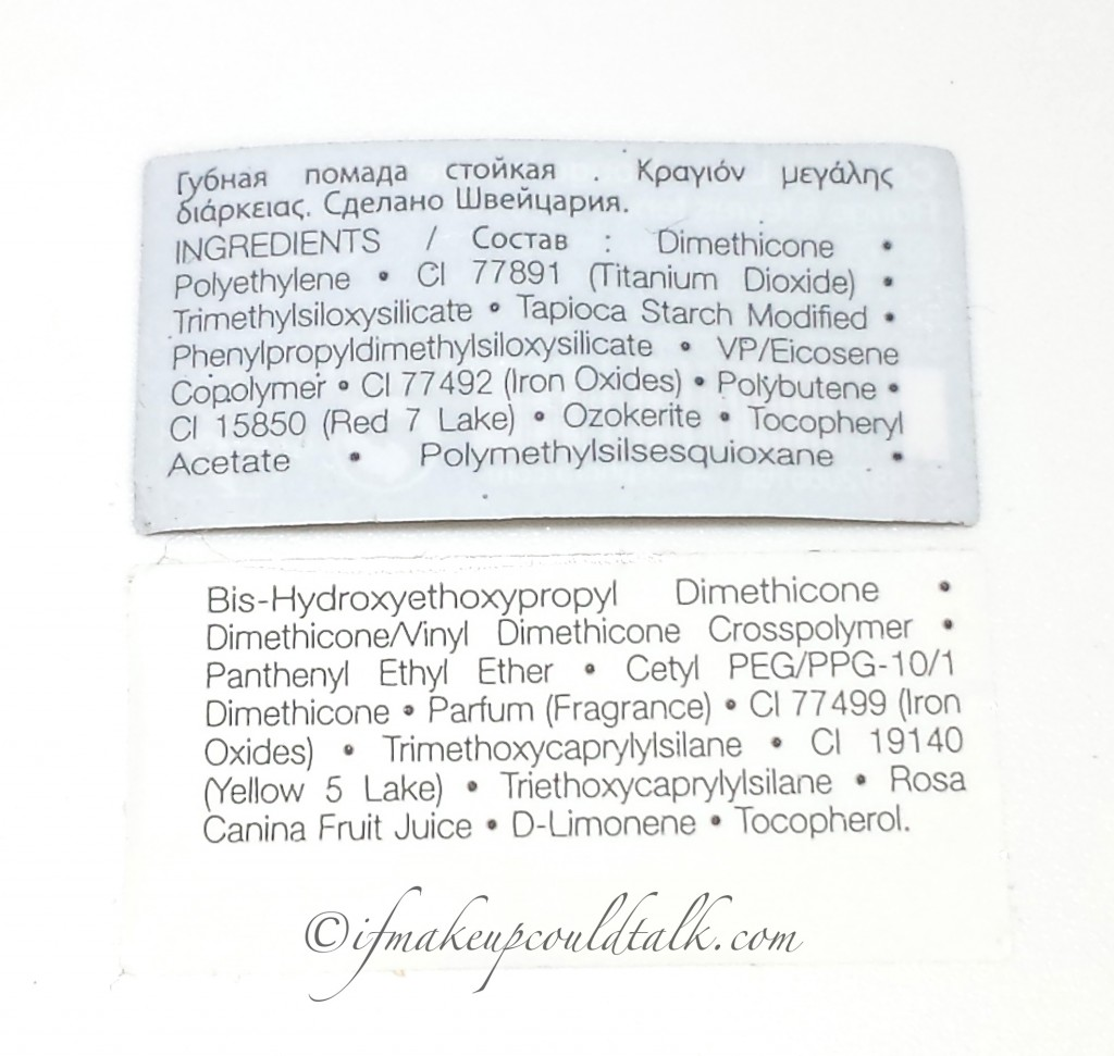 Ingredient List for Sephora Collection Color Lip Last 04 Brown is Back and 06 Blooming Rose