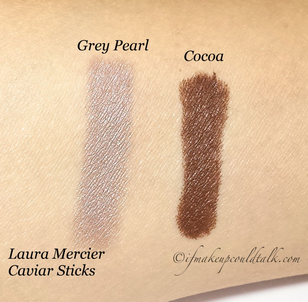 Laura Mercier Grey Pearl and Cocoa swatches.