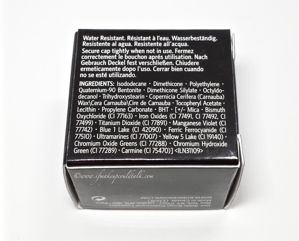 Bobbi Brown Suede Long-Wear Cream Shadow ingredient list.