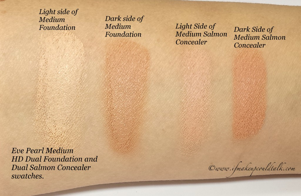 Eve Pearl Medium Hd Dual Foundation, Salmon Concealer swatches