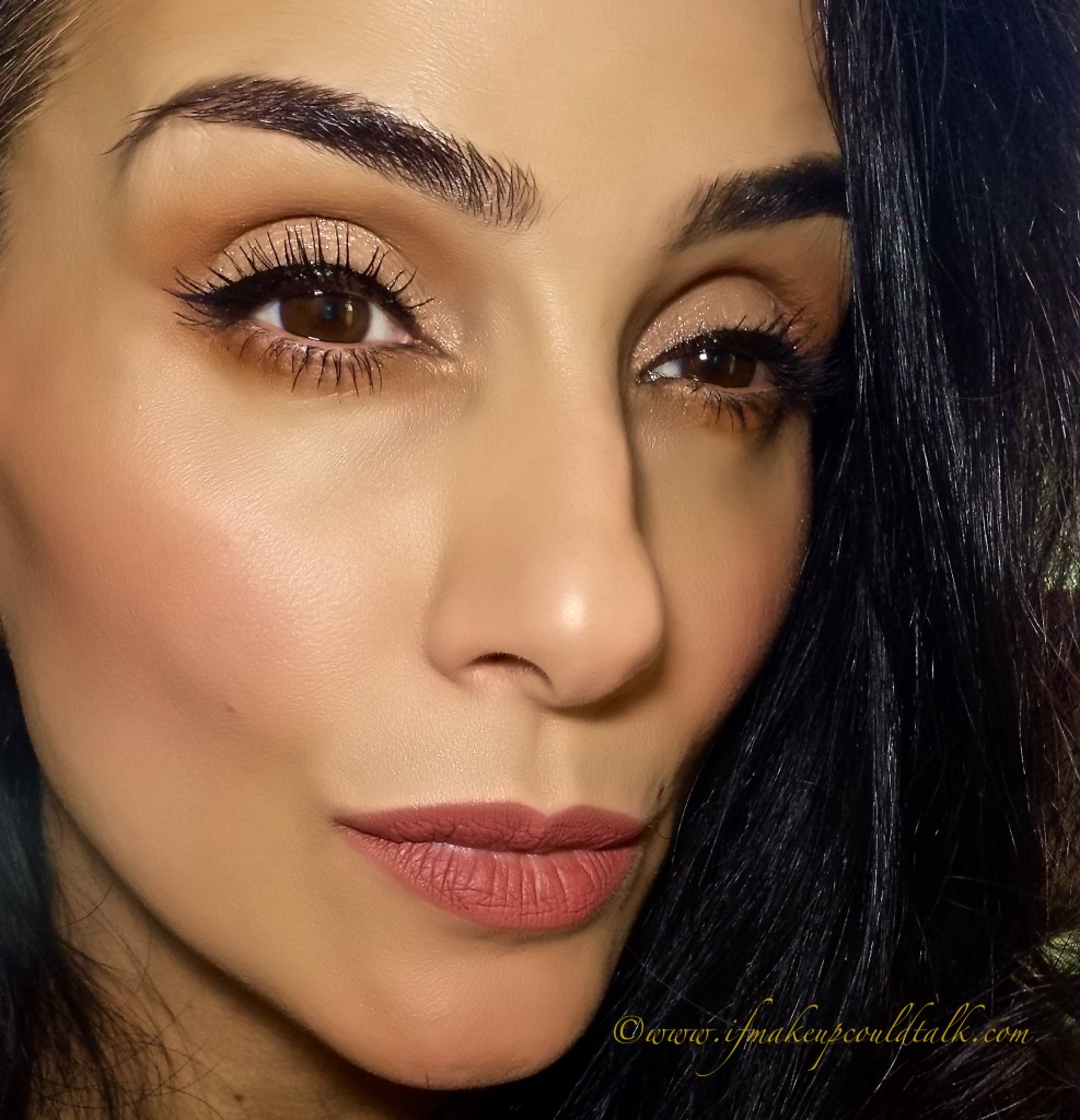 Bobbi Brown Baby Peach Sparkle Eye Shadow over NYX primer and Guerlain Powder Foundation.