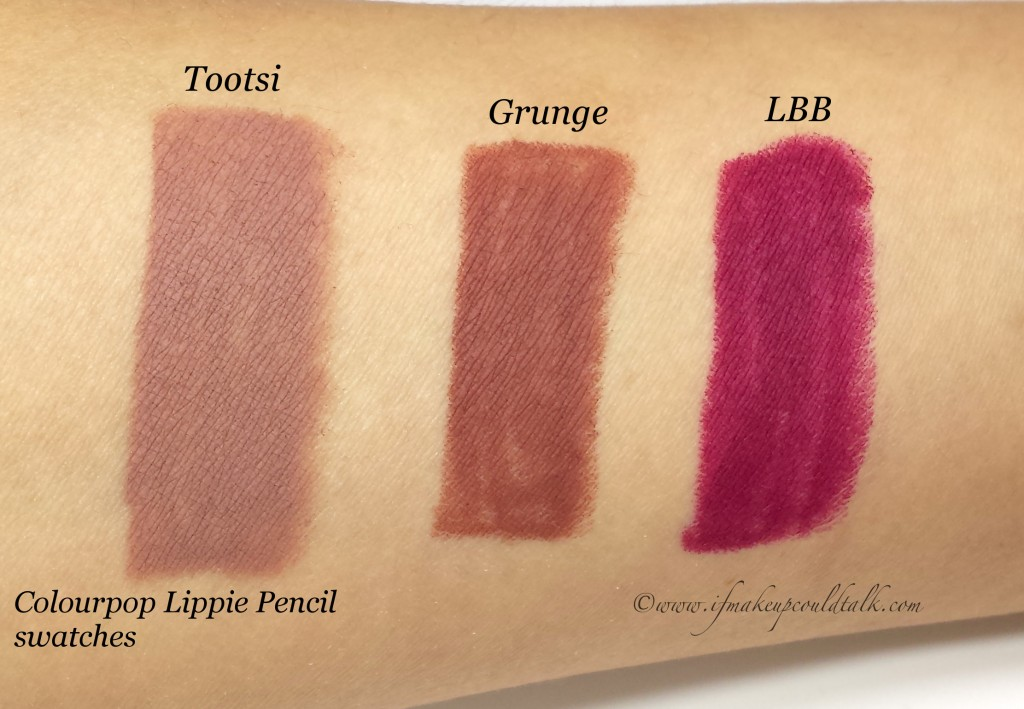 Colourpop Lippie Pencils L-R: Tootsi, Grunge, and LBB.