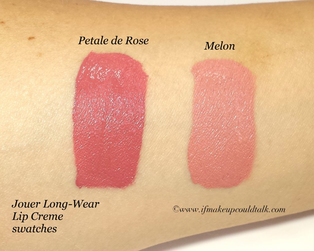 jouer petale de rose and melon long wear lip creme if makeup could talk. Black Bedroom Furniture Sets. Home Design Ideas