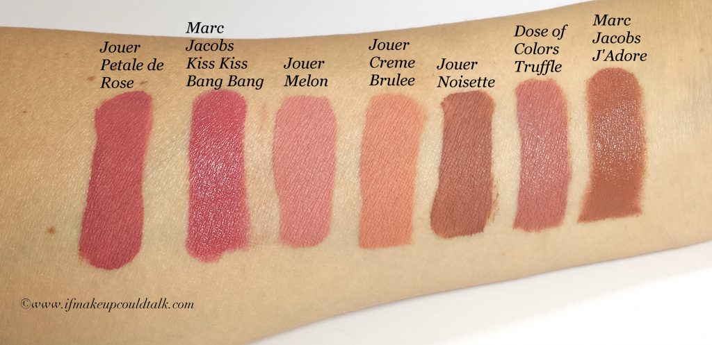 Lip Comparisons L-R: Jouer Petale de Rose, Marc Jacobs Kiss Kiss Bang Bang, Jouer Melon, Jouer Creme Brûlée, Joer Noisette, Dose of Colors Truffle, and Marc Jacobs J'Adore.