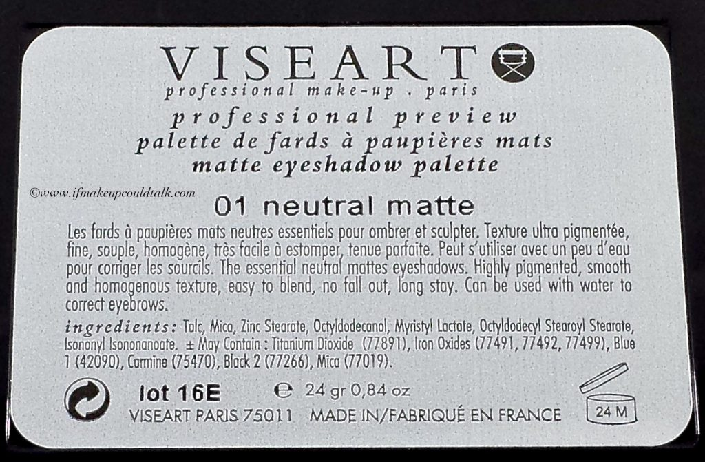 Viseart ingredient list.