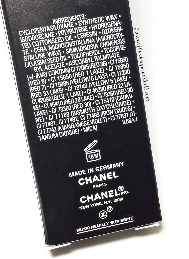 Chanel ingredient list