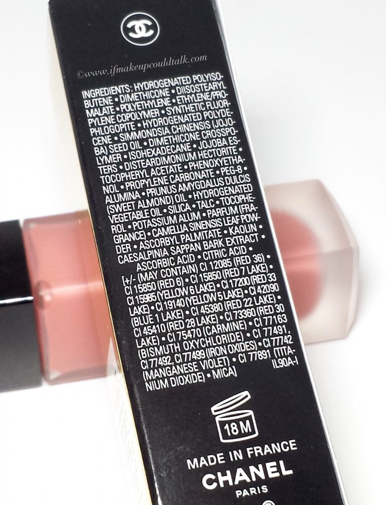 Chanel 140 Amoureux ingredient list.