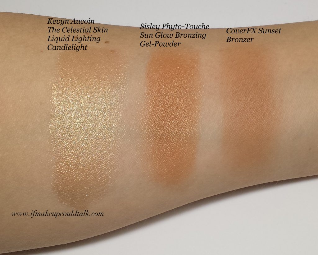 New Makeup Discoveries swatches: Sisley Bronzer, CoverFX Bronzer, Kevyn Aucoin Candlelight Liquid Lighting,