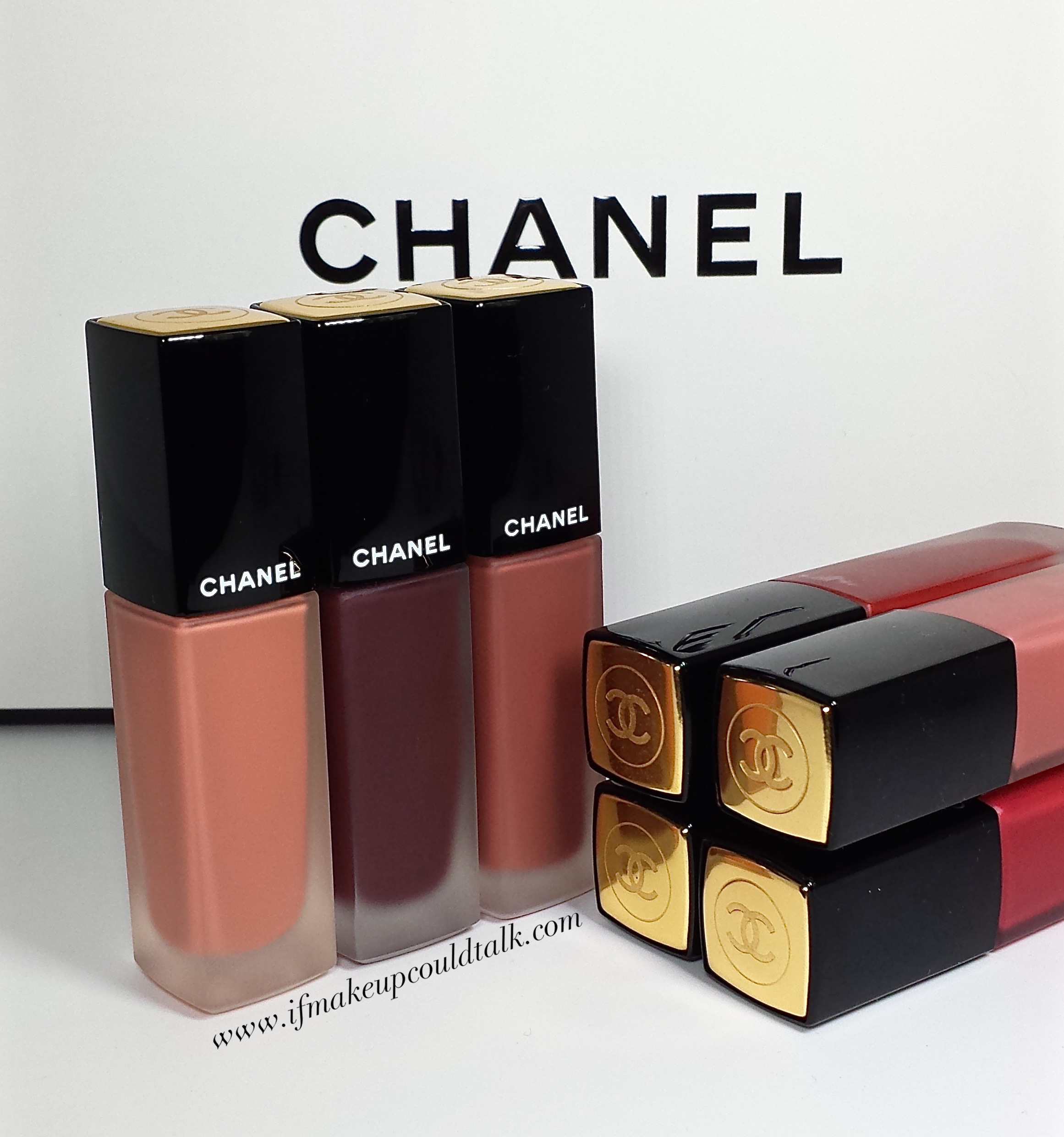 Chanel Rouge Allure Ink: 156 Lost, 184 Dark Purple and 176 Warm Beige.