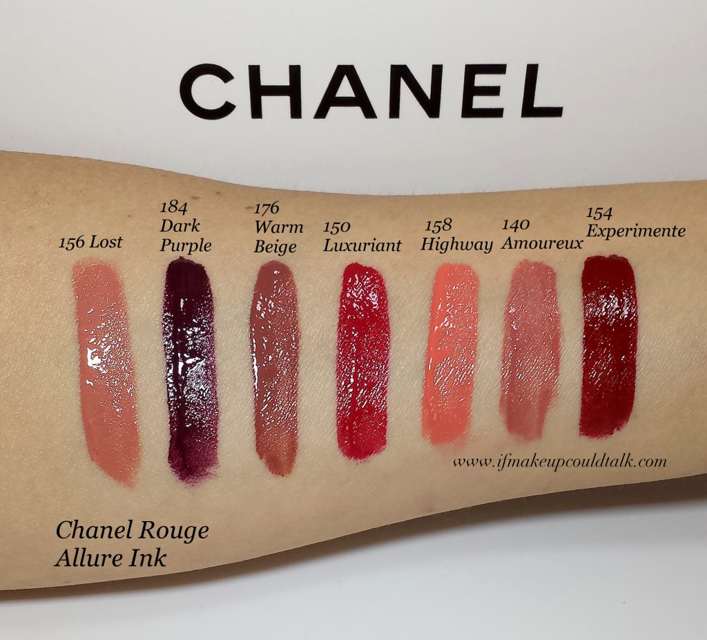 Chanel Rouge Allure Ink swatches.